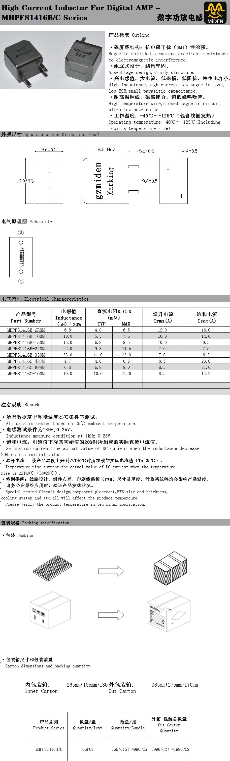 数字功放电感 MHPFS1416